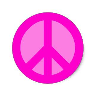 324x324 Pink Peace Symbol Stickers Zazzle