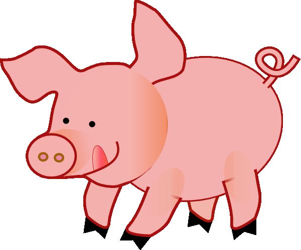 600x500 Pink Happy Pig Clip Art