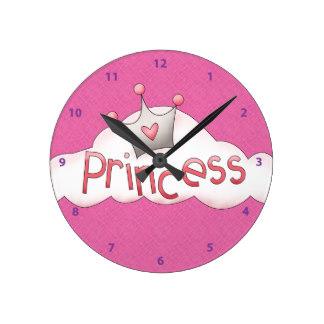 324x324 Pink Princess Crown Wall Clocks
