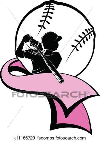 335x470 Clip Art Of Girl Softball Batter Pink Ribbon K11166729