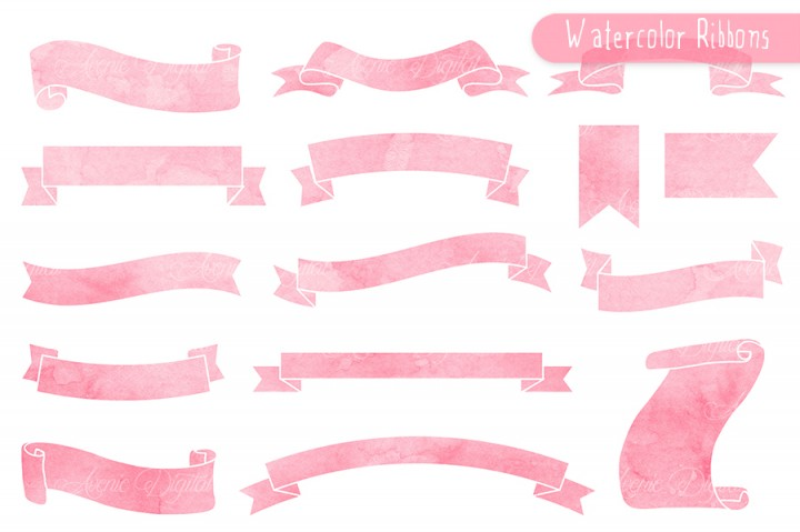 720x479 Coral Pink Ribbon Banner Clipart By Aveniedigital