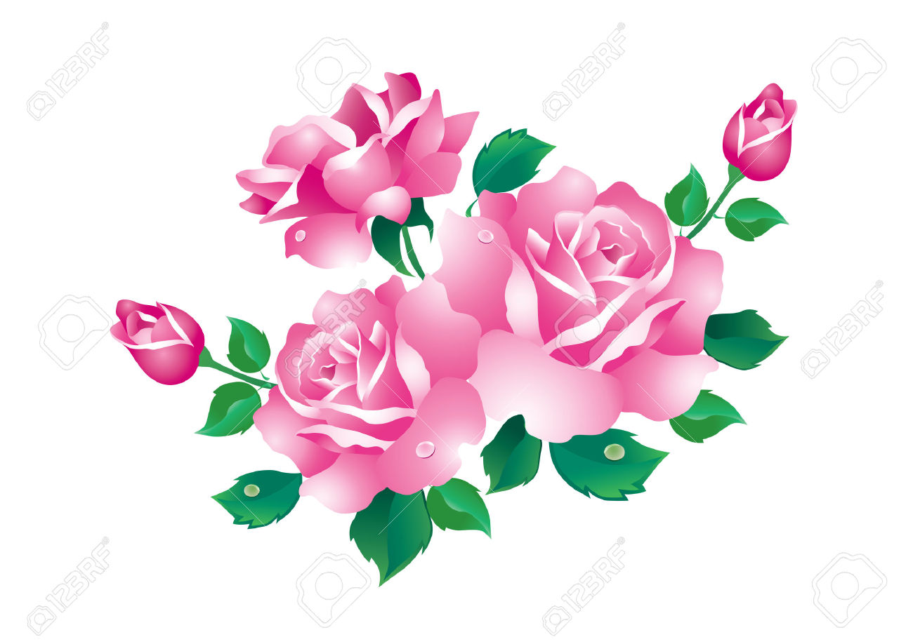 1300x918 Pink Rose Clipart Green Rose