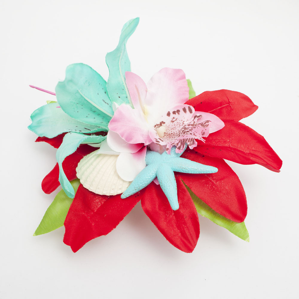 1000x1000 Turquoise Red And Pink Tropical Seashell Starfish Hair Flower Bad