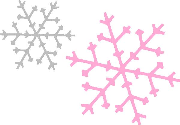 600x419 Ornament Snowflakes Pink Gray Clip Art