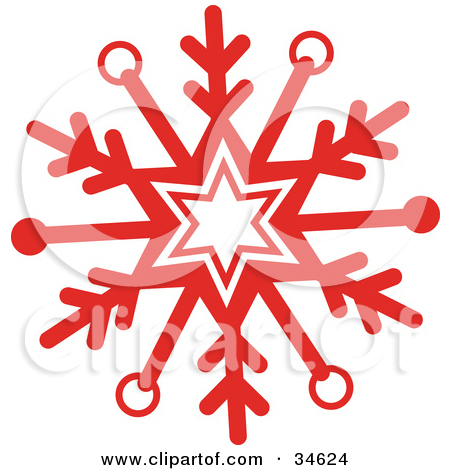 450x470 Red Snowflake Clipart