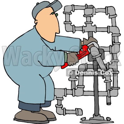 400x400 Working On Pipes With A Wrench Clipart Picture Djart