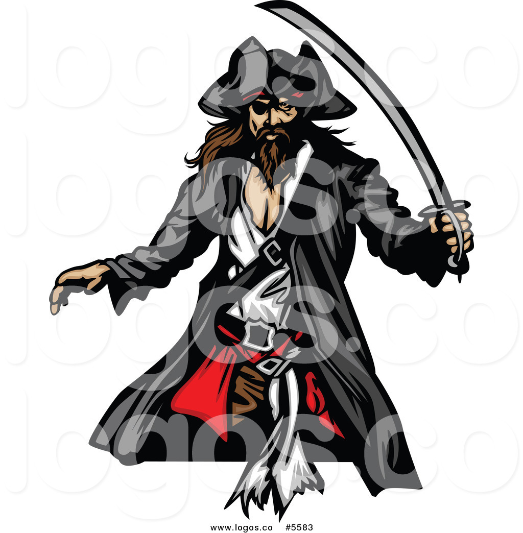1024x1044 Royalty Free Vector Of A Logo Of A Pirate With A Sword By Chromaco