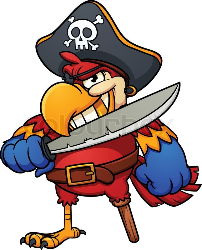 646x800 Evil Pirate Parrot. Vector Illustration With Simple Gradients. All