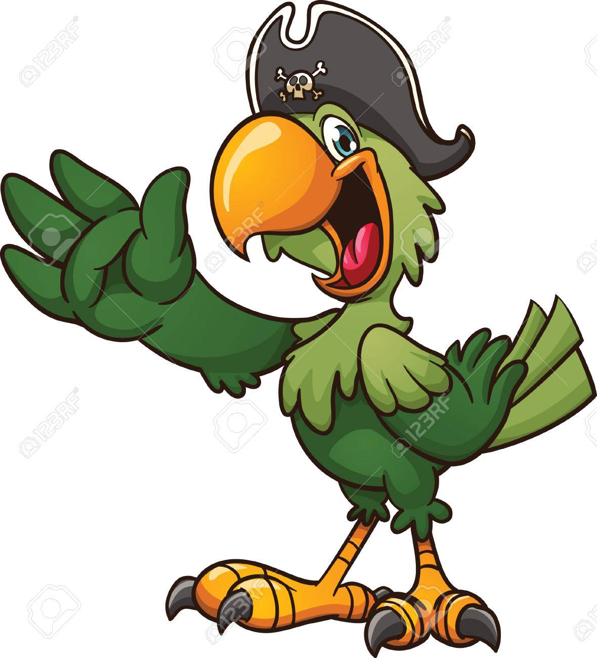 1180x1300 Cartoon Pirate Parrot Clip Art Illustration With Simple Gradients