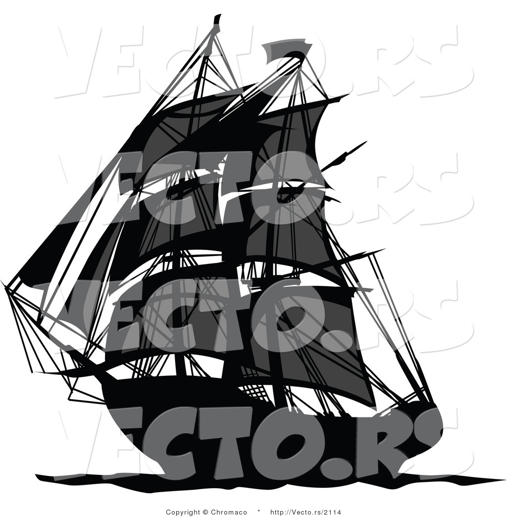 1024x1044 Vector Of A Dark Pirate Ship Sailing Ocean Waters By Chromaco