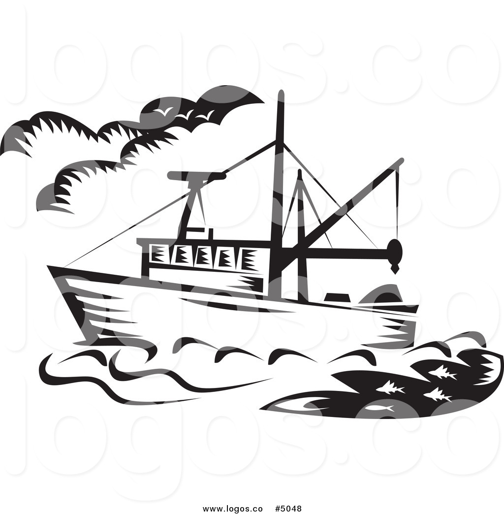 1024x1044 Royalty Free Vector Of A Black And White Fishing Boat Logo By