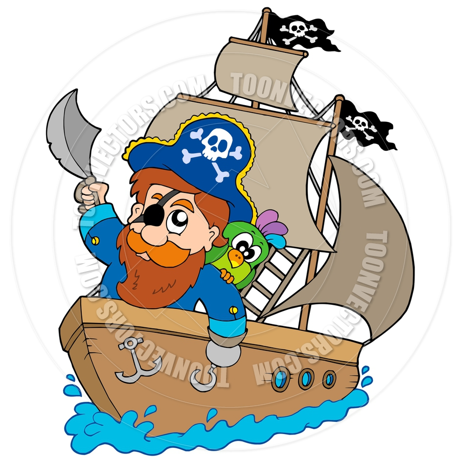 940x940 Cartoon Pirate Sailing On Ship By Clairev Toon Vectors Eps