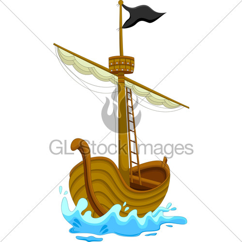 500x500 Cute Pirate Ship Cartoon Gl Stock Images