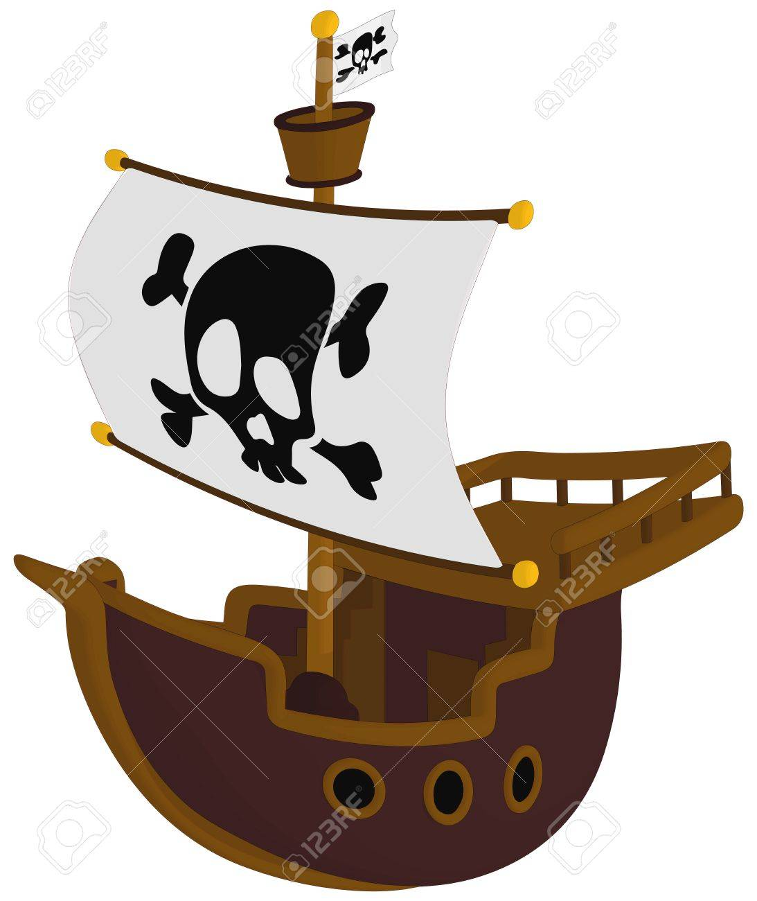 1093x1300 Pirate Ship Isolated On A White Background. Royalty Free Cliparts