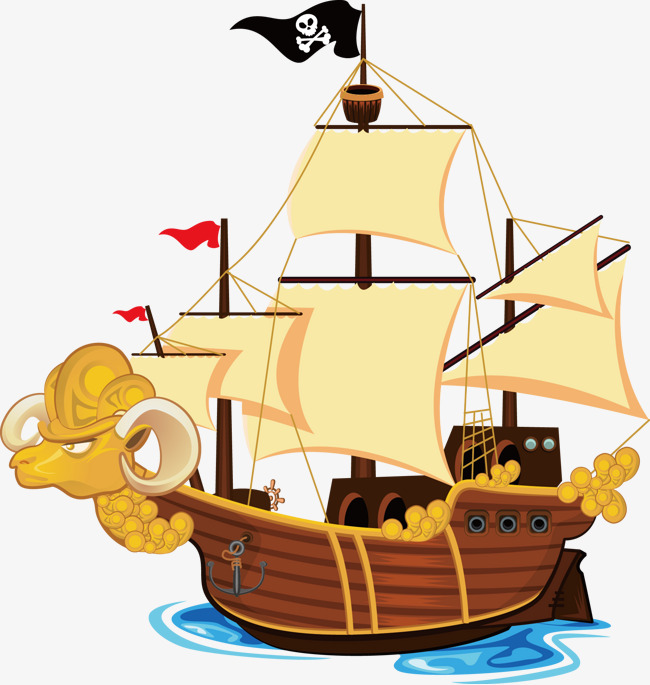 650x685 Vector Cartoon Pirate Ship, Q Version Of The Pirate Ship, Hand