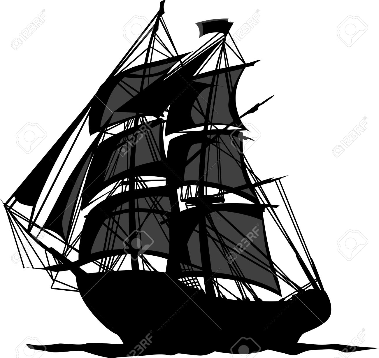 1300x1228 Sailing Pirate Ship With Sails Graphic Vector Image Royalty Free
