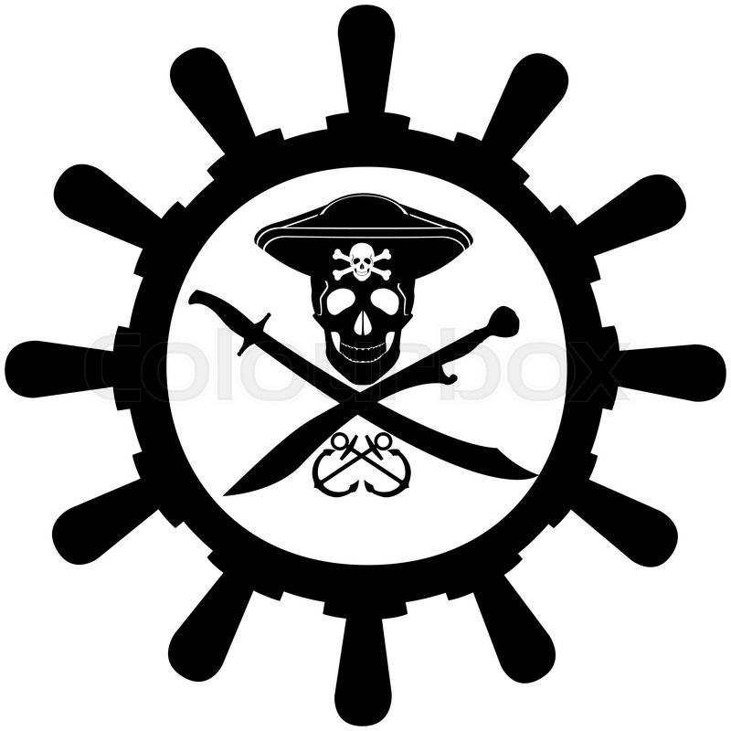 800x800 Skull, Bones, And Two Swords In Background Ship Wheel.