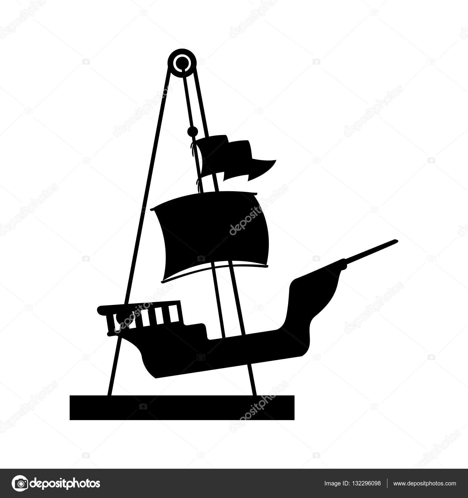 1600x1700 Silhouette Amusement Park Pirate Ship Line Icon Stock Vector
