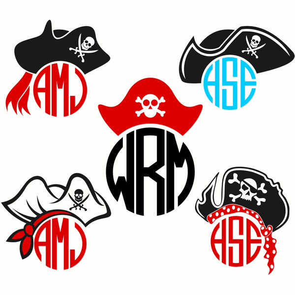 600x600 Pirate Monogram Frame Svg Cuttable Designs Cameo