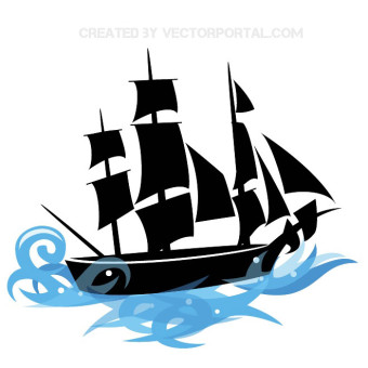 340x340 Pirate Ship Clipart Free Vector Graphics Freevectors