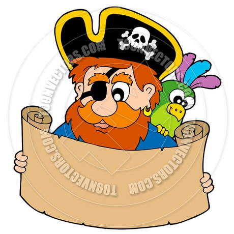 460x460 Cartoon Pirate Reading Treasure Map By Clairev Toon Vectors Eps