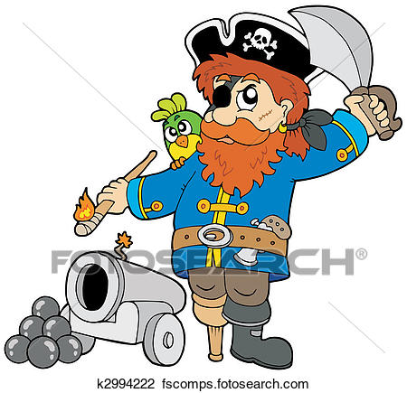 450x435 Clipart of Cartoon pirate with cannon k2994222