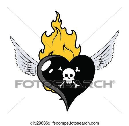 450x442 Clipart of Pirate Heart Flying with Fire k15296365