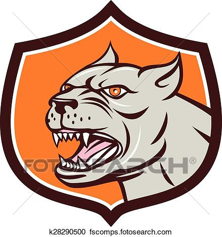 439x470 Clipart Of Pitbull Dog Mongrel Head Shield Cartoon K28290500