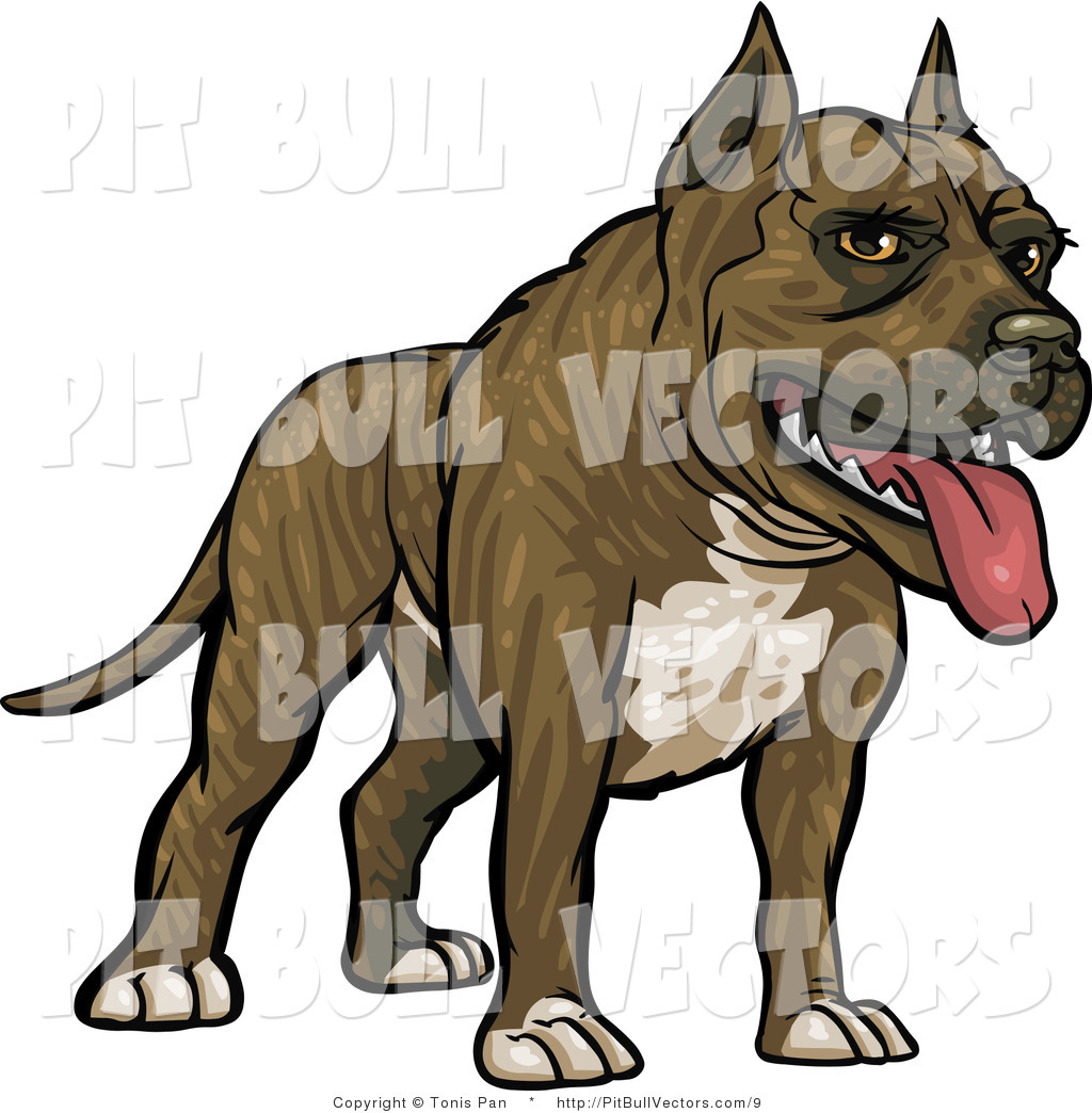 1024x1044 Vector Of A Friendly Brindle Pitbull Dog Panting By Tonis Pan