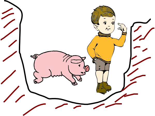 600x451 Boy In Pit With Pig Clip Art
