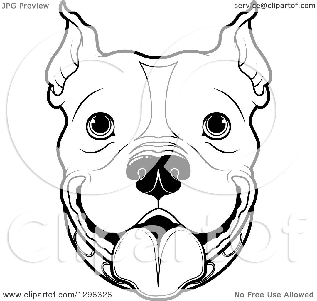 1080x1024 Clipart Of A Black And White Happy Pitbull Dog Face