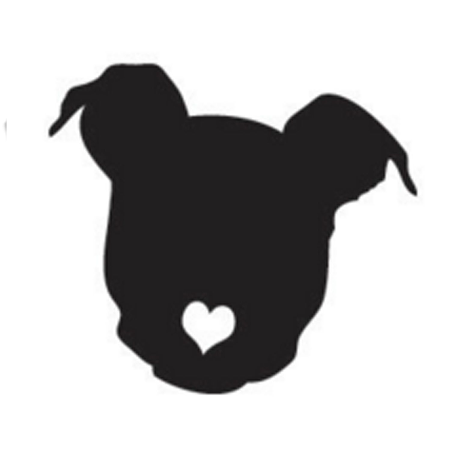 1521x1500 Pitbull With Heart Cutout Nose Or Angel Pit Bull Decal Sticker