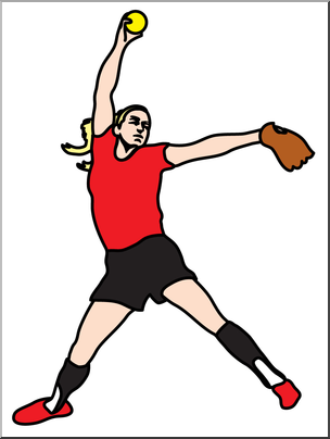 304x404 Clip Art Softball Pitcher Color I Abcteach
