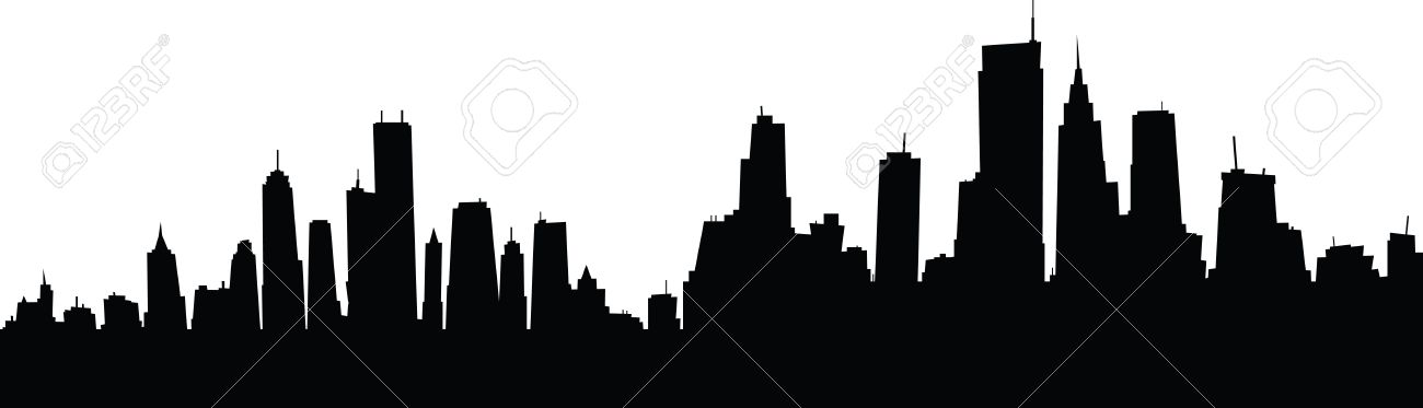 1300x373 Generic Cartoon Skyline Silhouette Of A Large City. Royalty Free