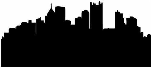 498x223 Pittsburgh Skyline Silhouette Decal Sticker Cornhole Board