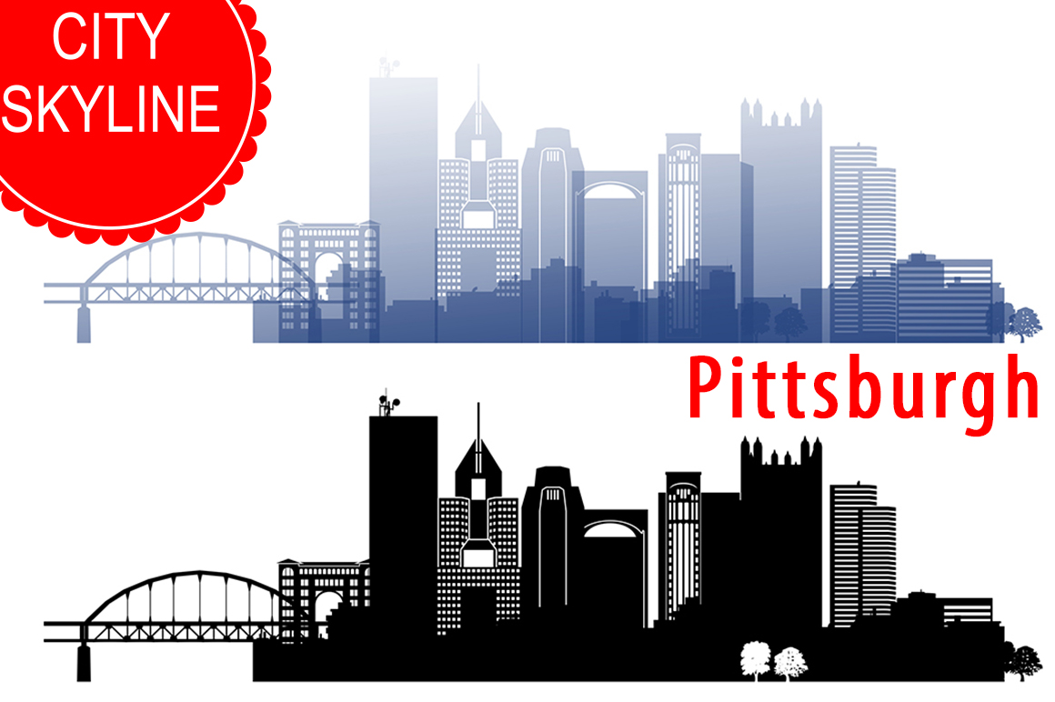 1160x772 Pittsburgh Vector, Pennsylvania, Usa Skyline Svg, Png, Jpg, Eps