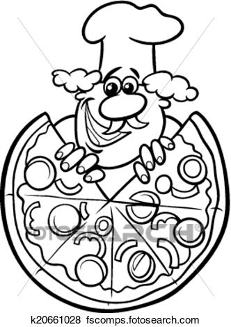 332x470 Clip Art Of Italian Pizza Cartoon Coloring Page K20661028