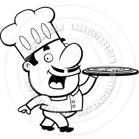 460x460 Pizza Chef (Black And White Line Art) By Cory Thoman Toon