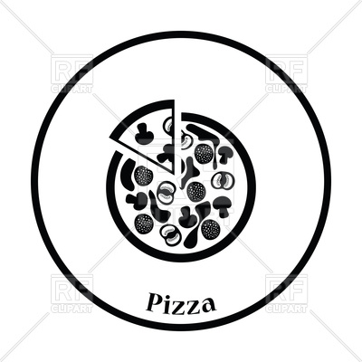 400x400 Thin Circle Design Of Pizza On Plate Icon Royalty Free Vector Clip