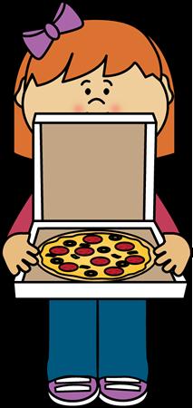 213x450 Girl Holding Pizza Box Clip Art