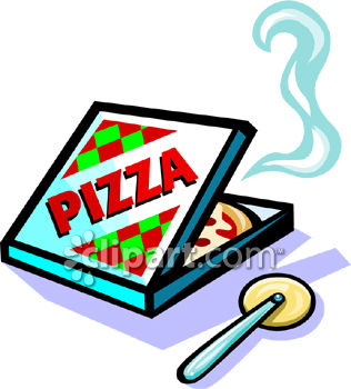 316x350 Royalty Free Clip Art Image Pizza In A Delivery Box With Cutter
