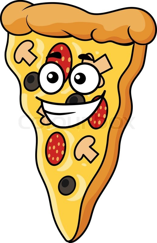 517x800 Cute Slice Cartoon Pizza With A Happy Smile And A Topping