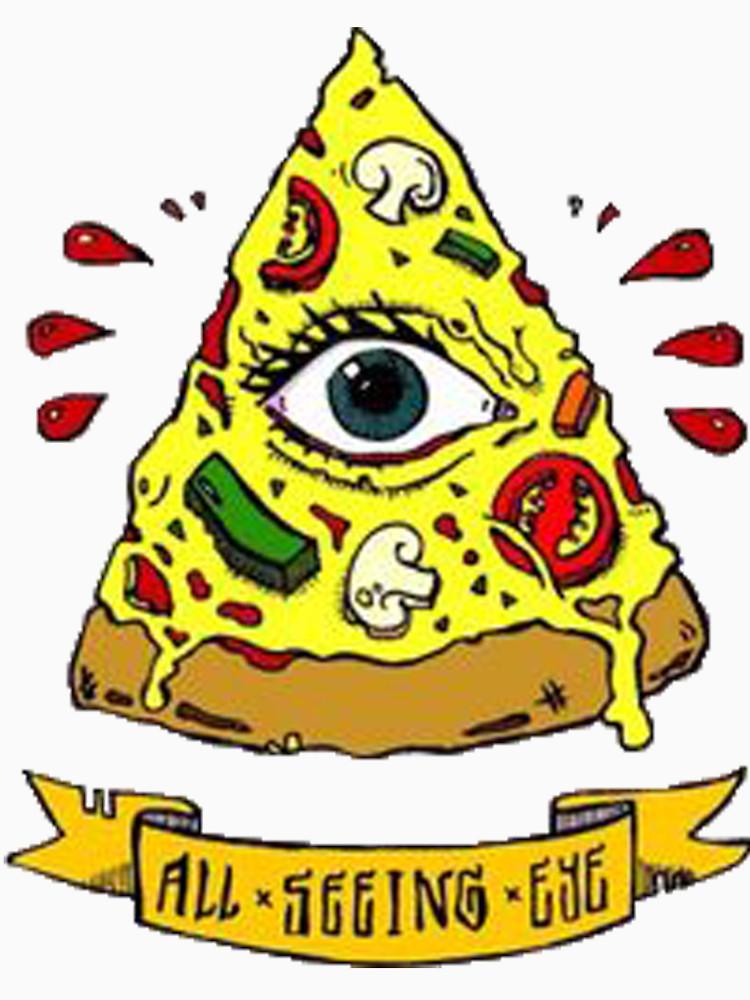 750x1000 Illuminati All Seeing Eye Pizza Cartoon Women's Fitted Scoop T