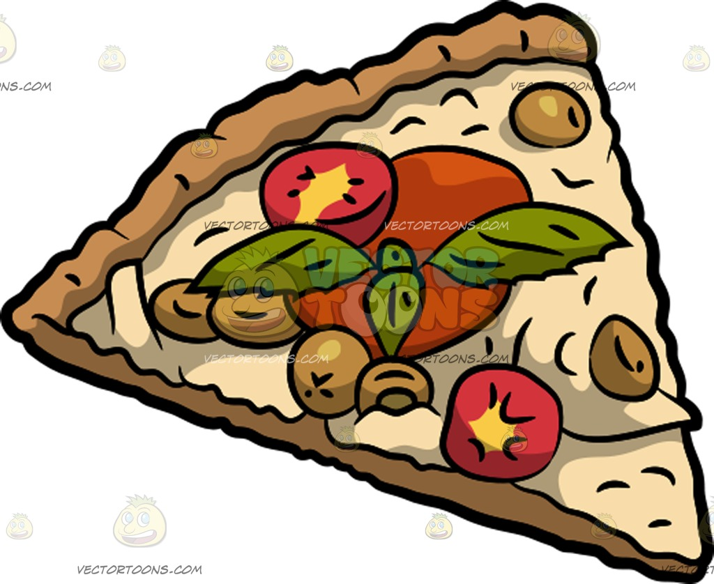 1024x838 A Slice Of Vegetable Pizza Cartoon Clipart