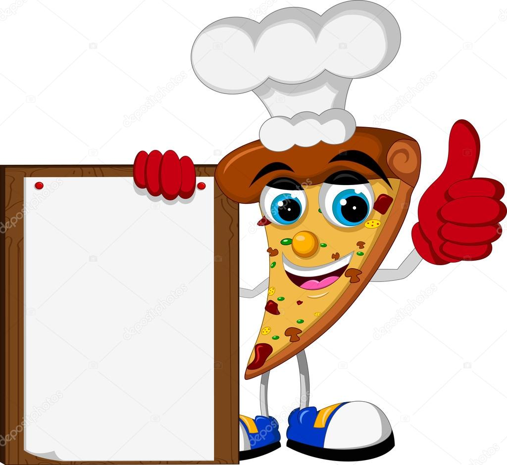 1024x940 Cute Pizza Cartoon Thumb Up Holding Blank Board Stock Vector