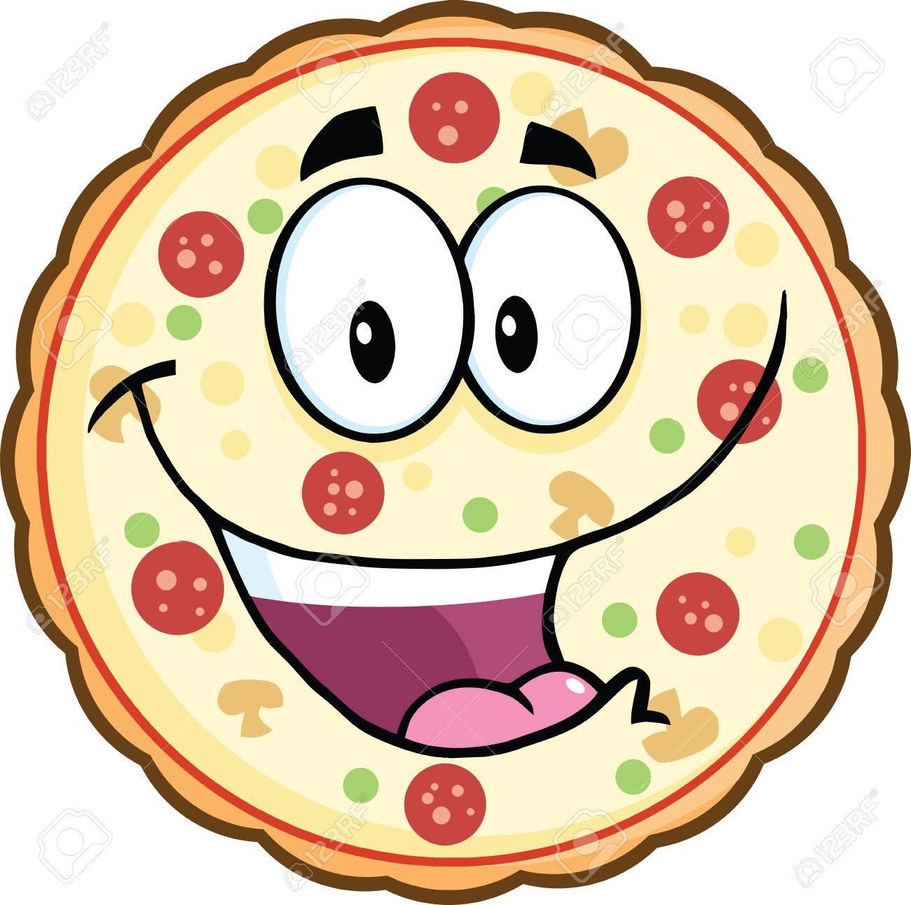 1300x1292 Funny Pizza Cartoon Mascot Character Illustration Isolated