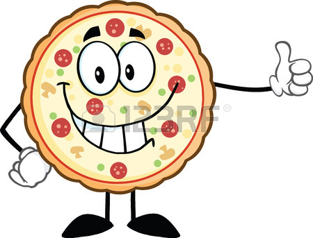 450x343 Funny Pizza Cartoon Mascot Character Showing A Blank Sign