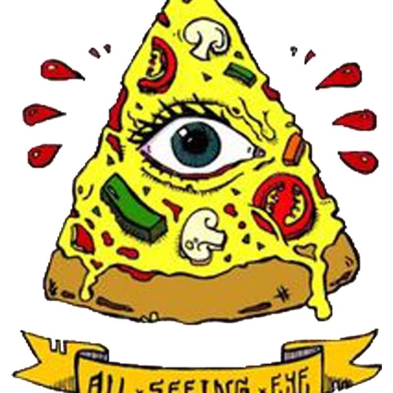 800x800 Illuminati All Seeing Eye Pizza Cartoon Spiral Notebooks By