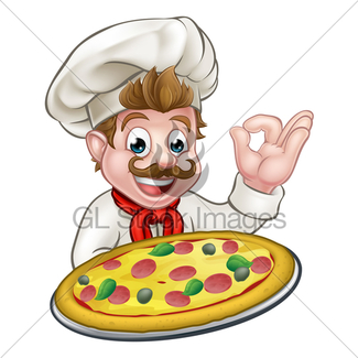 325x325 Pizza Chef Woman Cartoon Character Gl Stock Images