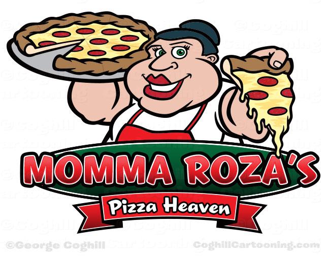 640x504 Pizza Shop Cartoon Logo With Italian Woman
